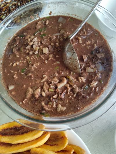 Filipino blood soup. Blood Soup Bowl Close-up Day Dinuguan Food Food And Drink Freshness Indoors  No People Ready-to-eat