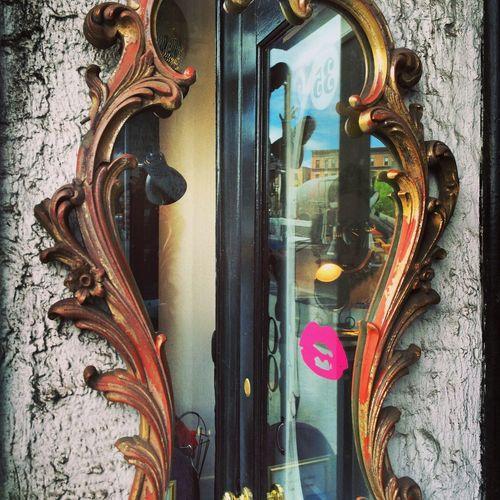 Mirror Composition Door Kiss Lipstick Mirror Reflection Street Scene Texture