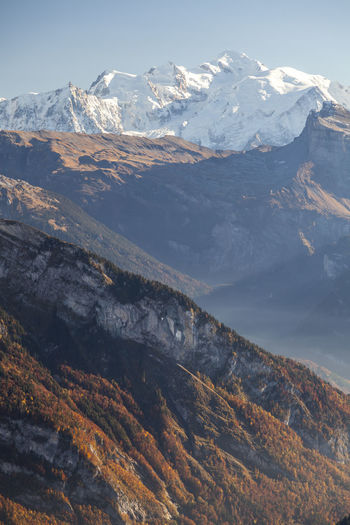Adventure Autumn Autumn Colors Autumn Leaves Beauty In Nature France Alpes Hiking Mont Blanc Mont Blanc Massif Mont Blanc View No People Outdoors Snowcapped Mountain Tranquility