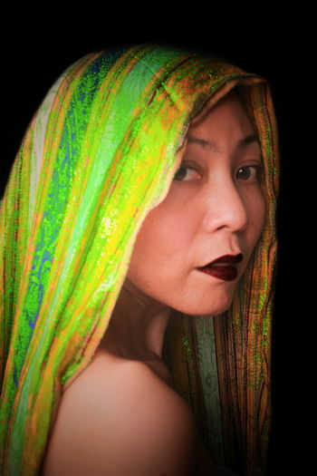 Green Beautiful Woman Young Woman Woman Veil Black Background Portrait Studio Shot Headshot Human Face Mid Adult Looking At Camera Close-up Green Color Pretty Natural Beauty Posing Red Lipstick International Women's Day 2019 My Best Photo