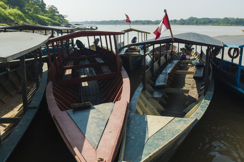 Boat Composition Connection Perspective Peru Peru Traveling Puerto Maldonado Rio Madre De Dios River Riverbank Transportation Wood Wood - Material Wooden