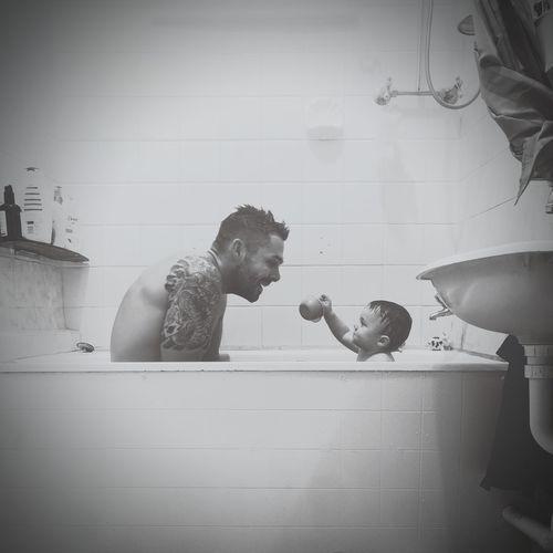 tiny bath full of love Fatherandson Babyboy Bathtime Love Perthisok Jaspercharles Baby Boy Child Water Childhood Domestic Room Males  Boys Domestic Life Home Interior Bubble Bath Bathtub