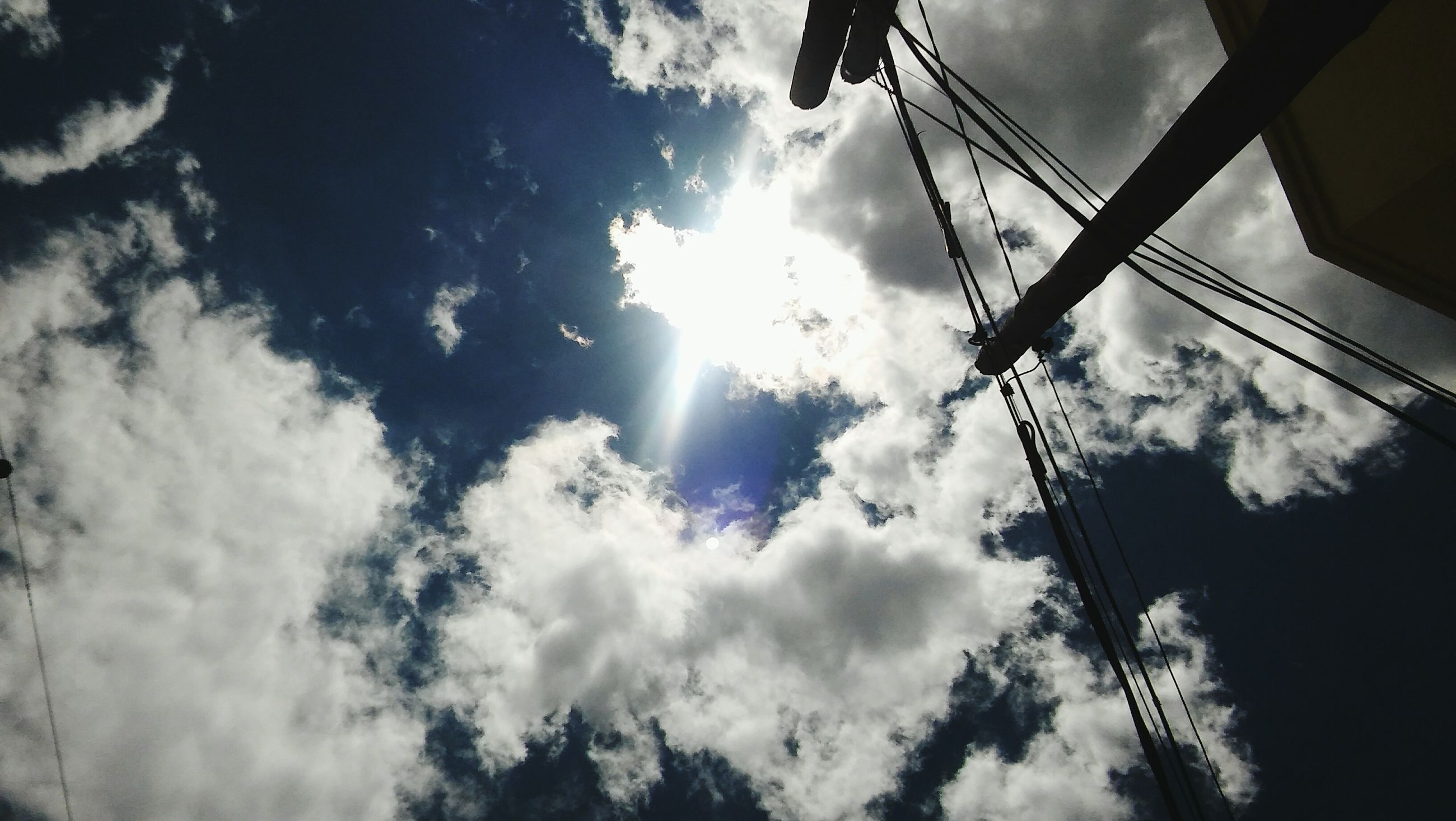 low angle view, sky, cloud - sky, sun, sunbeam, cloudy, cloud, sunlight, lens flare, nature, outdoors, day, silhouette, no people, electricity, power line, cable, built structure, sunny, street light