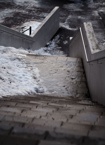 Your typical sight in Finland from November to March Frozen Concrete Staircase Slippery Platform Railing High Angle View Wall Stairs Architecture Outdoors Cold Temperature Snow Slush Urban Dangerous Slippery Danger Sanded No People Built Structure Building Exterior Down Looking Down Gh5 Winter
