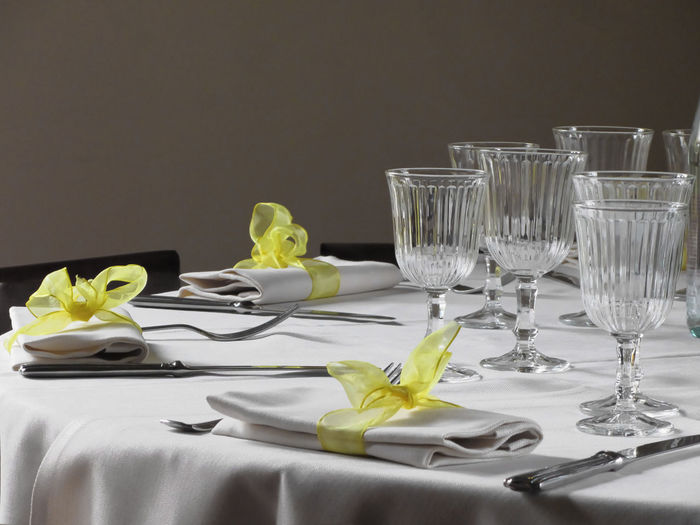 Close-up of set dining table