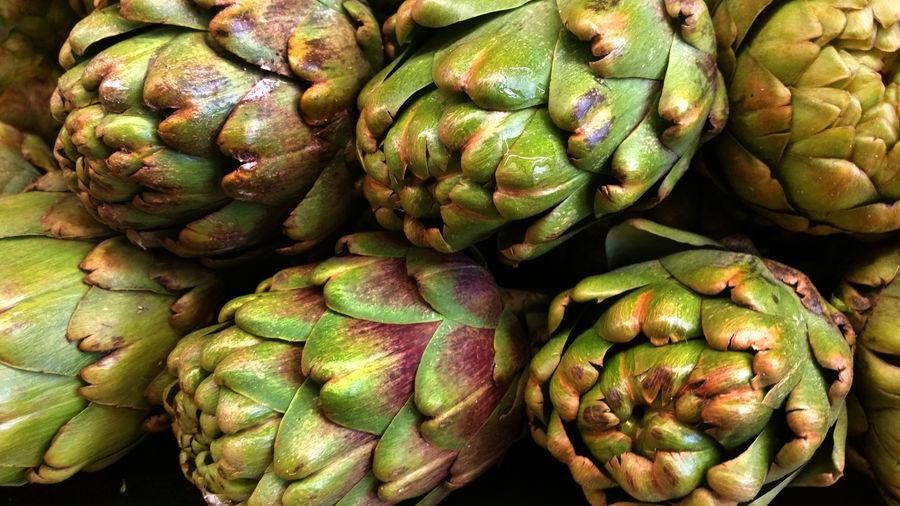 Close-up of fresh artichokes