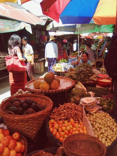 Bazzar Food Fruit Variation Variety Market Vegetable Vegetable Seller Myingyan Myanmar Business