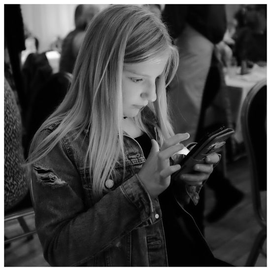 Real People Modern Technology Blackandwhite Niece. Holywood County Down Northern Ireland Phone Illumination