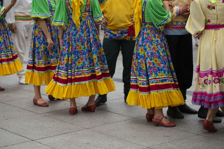 Russian folk dance group Asturias City Dance Horizontal Music SPAIN Sunny Celebration Coloful Day Festival Folk Folklore Group Of People Lifestyles Outdoors Performance Russian Summer Traditional Traditional Clothing