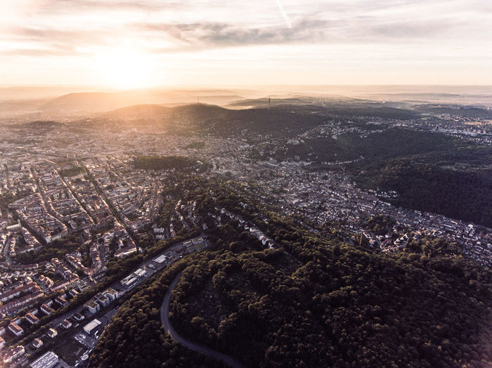 Aerial View Architecture Baden-Württemberg  Bird's Eye View Built Structure City City And Sky City Life Cityscape Cloud - Sky Deutschland Drone  Drone  Dronephotography Droneshot Germany High Angle View No People Sky Stuttgart Sunset Tourism Urban Skyline Vogelperspektive