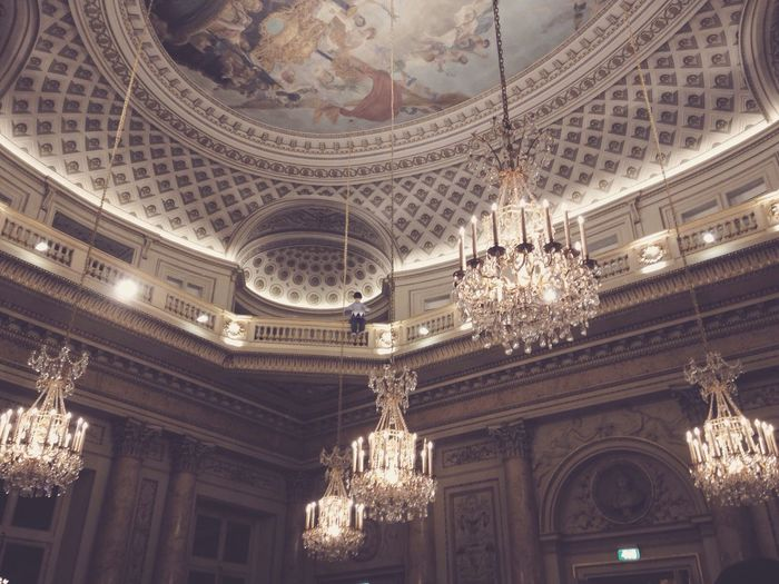 Chandelier Ceiling Painting Gold Fancy Beautiful Paris
