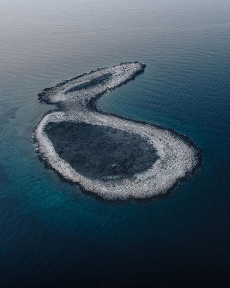 Aerial view of remote island in croatia.