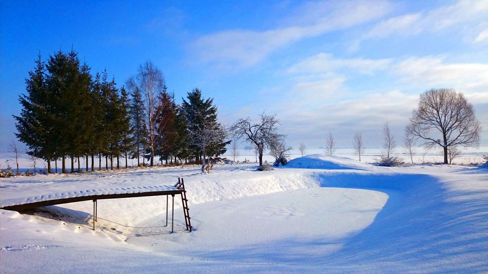Cold Temperature Countryside Day Freshness Nature Sky Snow Sunny Village Winter