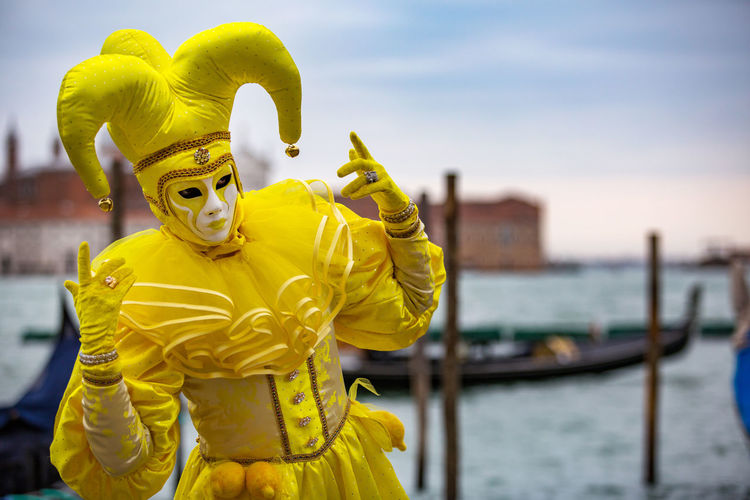 Carnival Carnival In Venice Venice, Italy Carnival Masks Costume Day Focus On Foreground Gold Colored Mask - Disguise One Person Outdoors People Sky Venetian Mask Yellow