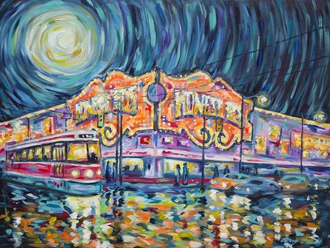 HonestEds - 30x40 Acrylic on stretched canvas. CaseyONeill Impressionism Torontoartist Artistlife Caseyoneillart Impressionist Impressionistic ArtWork Toronto Citylights Nightlights Streetlights