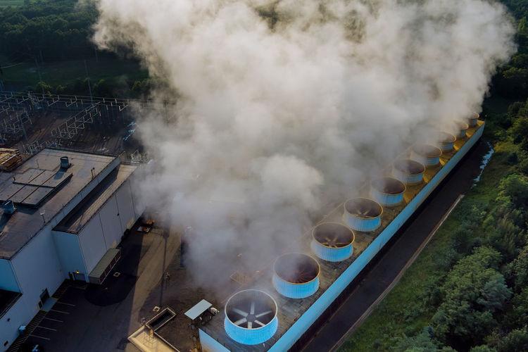 High angle view of smoke emitting from train