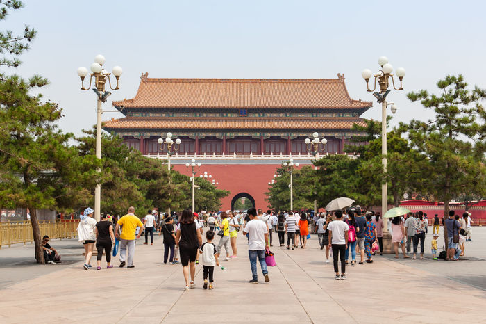 Beijing, China - Jun 20, 2016 : View of the Duanmen, behind the Tianmen, at the Forbidden City in Beijing. Architecture ASIA Beijing Beijing, China China Day Haze Mainlandchina Outdoors Smog Square Summer Tiananmen  Tiananmen Square Tourism Tourist Travel Travel Destinations BEIJING北京CHINA中国BEAUTY