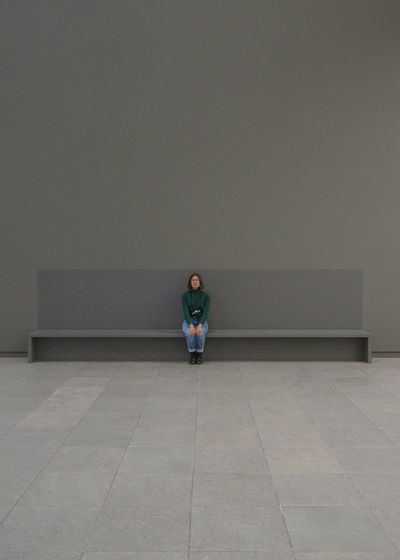 Hamburger Bahnhof Architecture Day Front View Full Length Indoors  One Person People Place Of Heart Real People Sitting Waiting Young Adult Young Women The Portraitist - 2017 EyeEm Awards