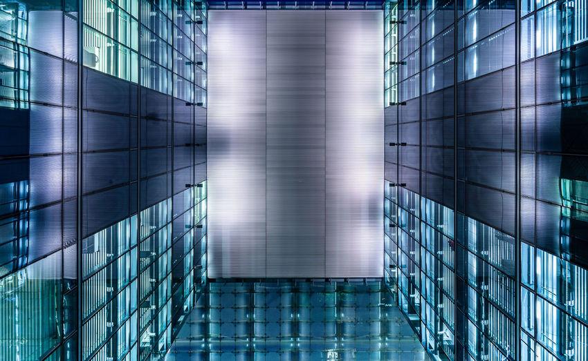 Full frame shot of illuminated modern building in city
