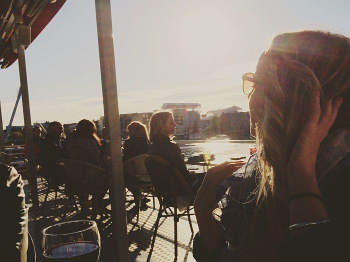 It's always better with sun. Sunbathing Girl Friend Happiness Boat Terrace Drinking Wine