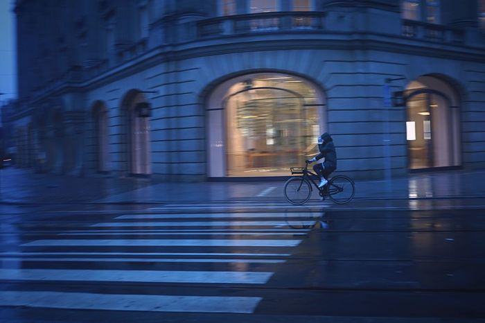 Cold Dutch Mornings Leidseplein Amsterdam Apple Store Holland Dutch Panning Bicycle Architecture Transportation Built Structure Building Exterior Real People Mode Of Transport Outdoors