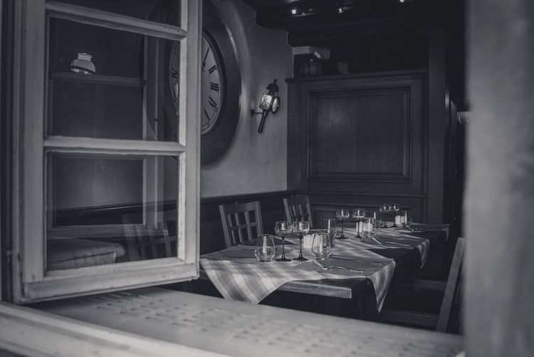 Dining table seen through window