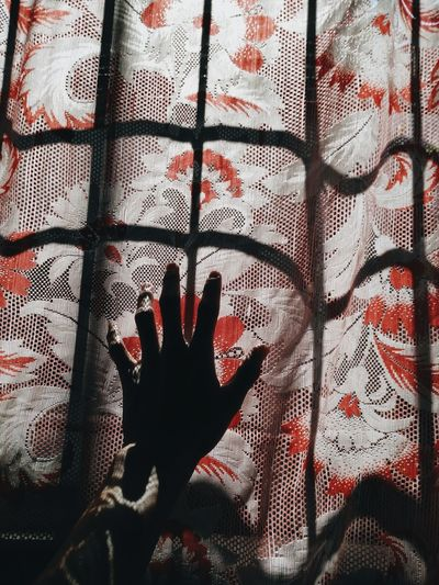 Shadows & Lights Shillouette Hand Body Part Window Human Hand Textile Sheet Full Frame Close-up Floral Pattern Looking Through Window Curtain Fabric