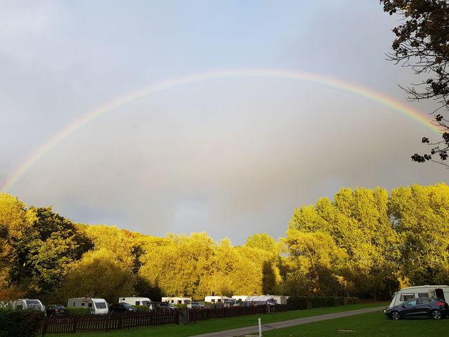A slice of Heaven Caravan Amazing View Tree Multi Colored Double Rainbow Spectrum Sky Scenics Tranquil Scene Idyllic