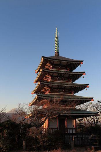 Buddist Temple Cultures Japan Landscape Mt.Fuji Pagoda Photography Sky Sunset Temple