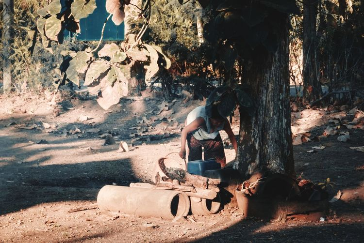 Side view of woman sitting on tree trunk