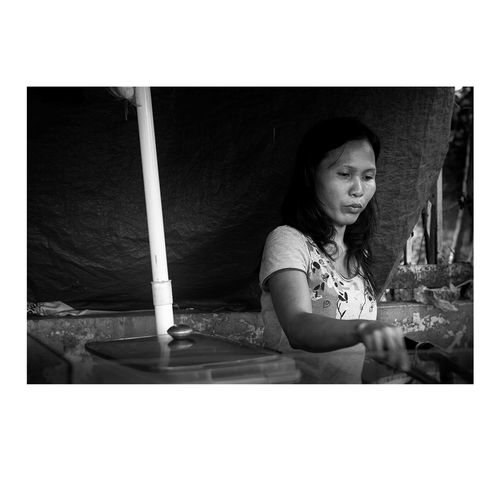 Grind #Dailylife #asia #blackandwhite #dailygrind #life #philippines #street Stills Beautiful Woman Candid One Person People Real People