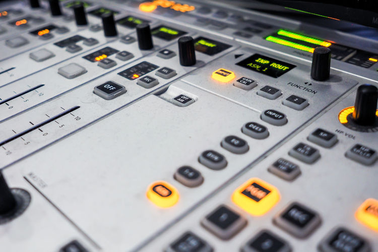 Audio Audio Equipment In Studio Radio Sound Audio Stream Audio Strean Broadcasting Buttons Close-up Day Fader In Radio Indoors  Mixer Mixer Audio Mixer Desk No People On Play Radio Mixer Radio Station Technology