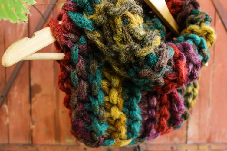 Close-Up Of Colorful Knitted Wool