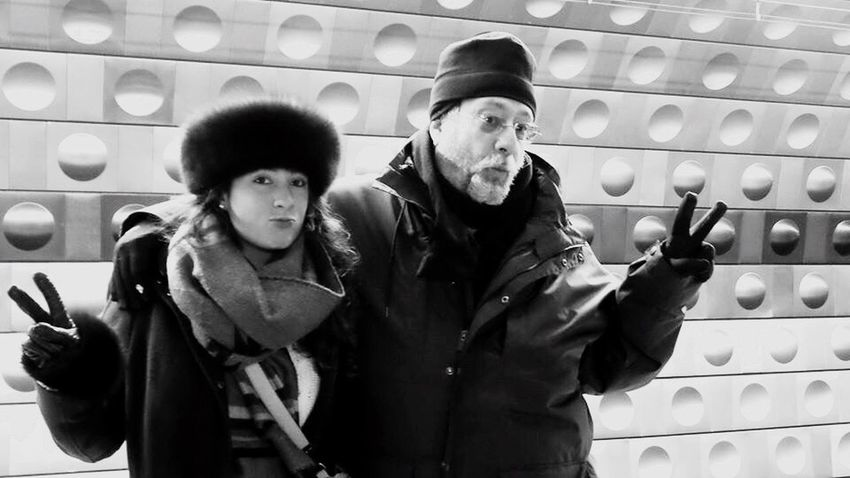 Blackandwhite Peace✌ Subway People Father And Daughter Silly Pose Czechpeople Waiting For A Train Daddy Daughter Time Daddydaughtertime