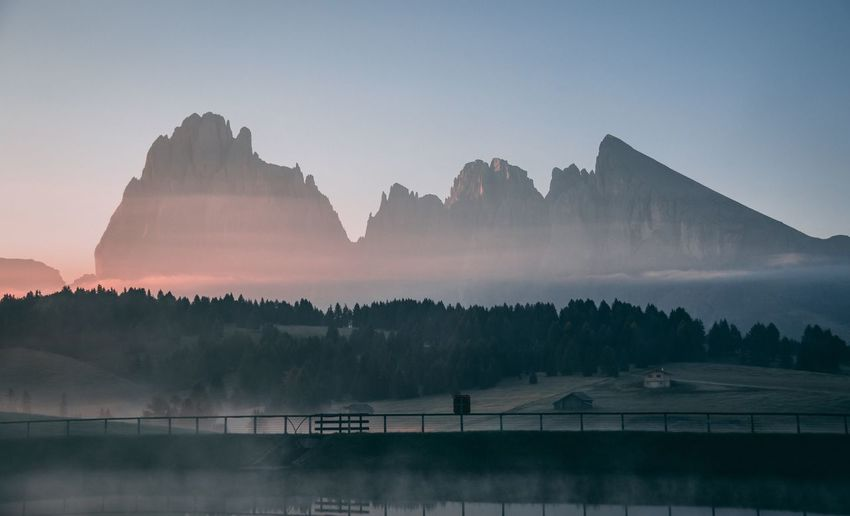 Soul wake up in Dolomites Seiseralm Travel Sun Fog Eyemphotography Dolomites, Italy Sunrise Sky Scenics - Nature Nature Beauty In Nature Tree Landscape Environment No People Tranquility Tranquil Scene Mountain Water Outdoors Plant