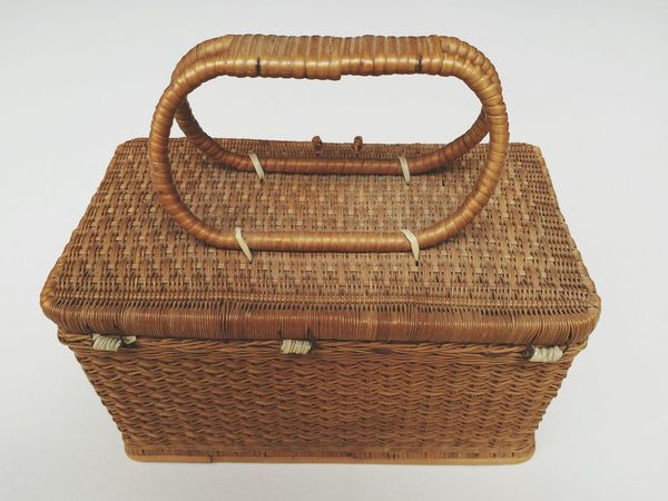 EyeEm Selects Rattan Basket Retro Styled Antique No People Day White Background Indoors  Close-up Textured  Bamboo - Material Wood - Material Basket Weave Old