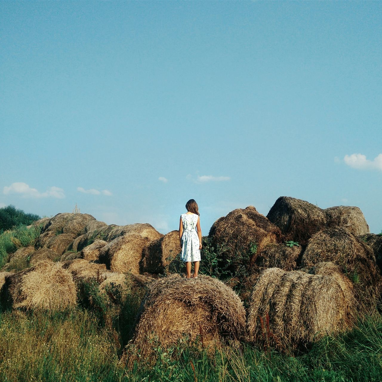 Rear view of young woman standing hay bale against blue sky