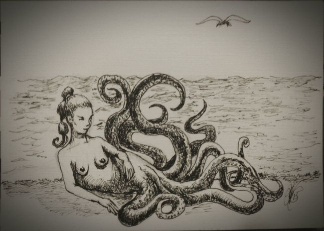 Ink Sketch seawitch lounging on the shore. Fantasy Sealife Ocean Sunbathing Soaking Up The Sun Seawitch Tentacles Art