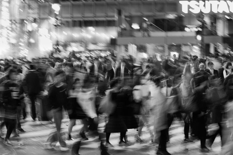 Shibuya Crossing at rush hour Black & White Japan Rush Hour Shibuya Tokyo Black And White Blackandwhite Pedestrian Slow Shutter Street Street Photography Streetphotography Urban Adventures In The City