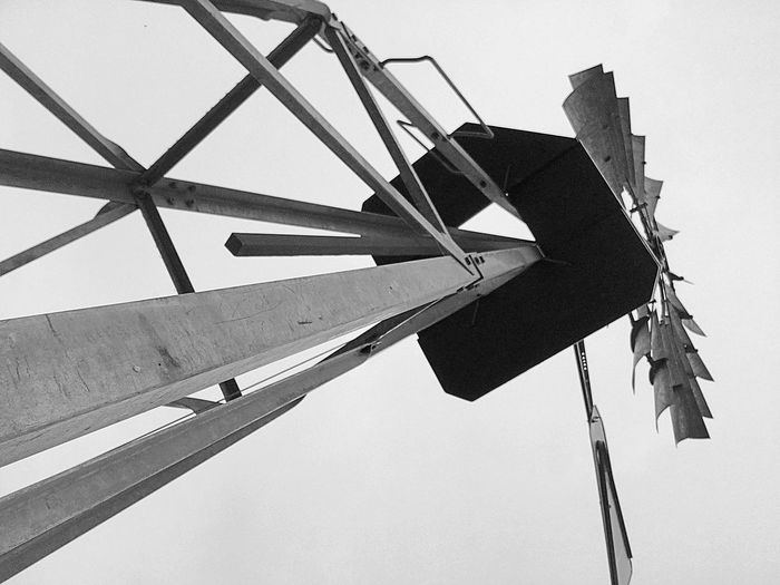 Windmill in B&W Architecture Black And White Black And White Photography Clear Sky Day Farm Farm Life Low Angle View No People Open Edit Outdoors Sky Windmill Windmill Of The Day