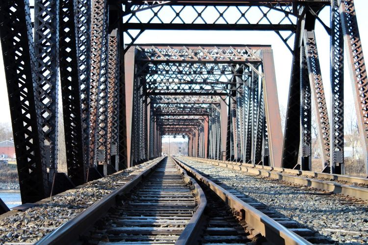 The Way Forward Metal Railroad Track Rail Transportation Transportation Day No People Built Structure Architecture