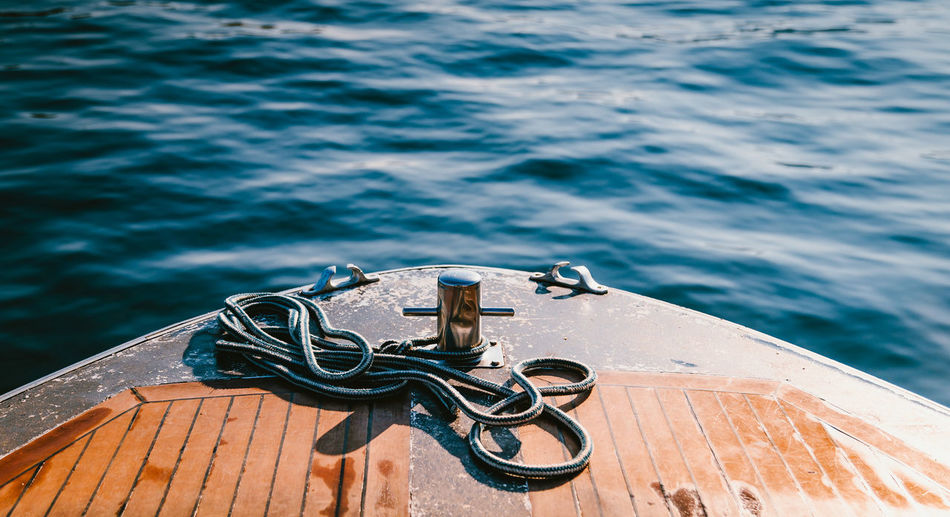 High angle view of rope on pier