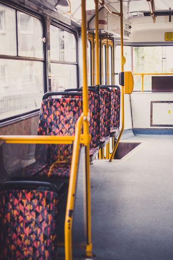 Empty seats in train close-up