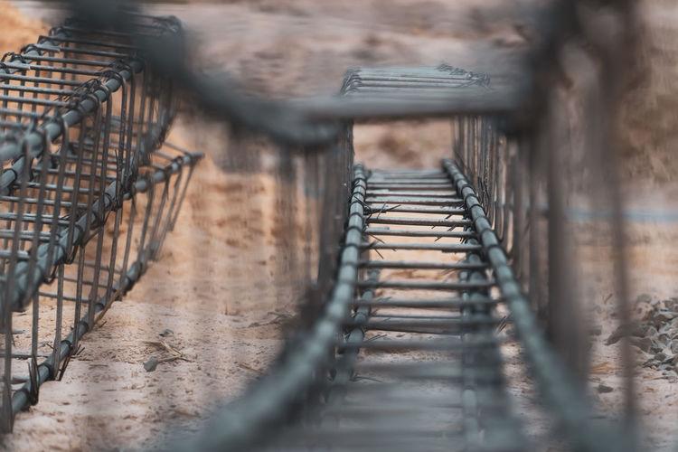 Metal bridge in row
