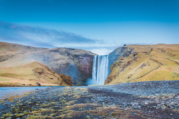 Beauty In Nature Day Iceland Lake Landscape Mountain No People Outdoors Reservoir Sand Scenics Sky Water Waterfall