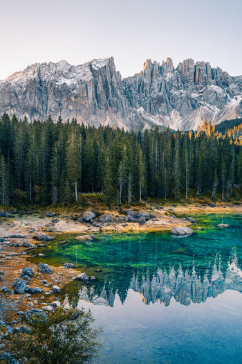 Panoramic view of lago di carezza, dolomites, italy