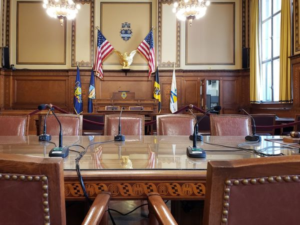 Council Chamber Politics And Government Pennsylvania Pittsburgh City Hall American Flag Flag Court Meetings Democracy Chair Table Historic Office Building Historic Building Building