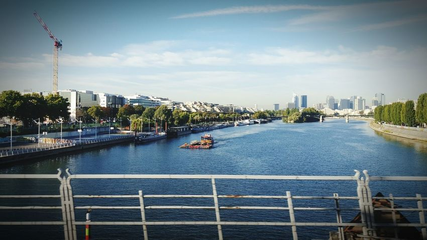 Paris La Seine France, Paris, La Defense On The Bridge