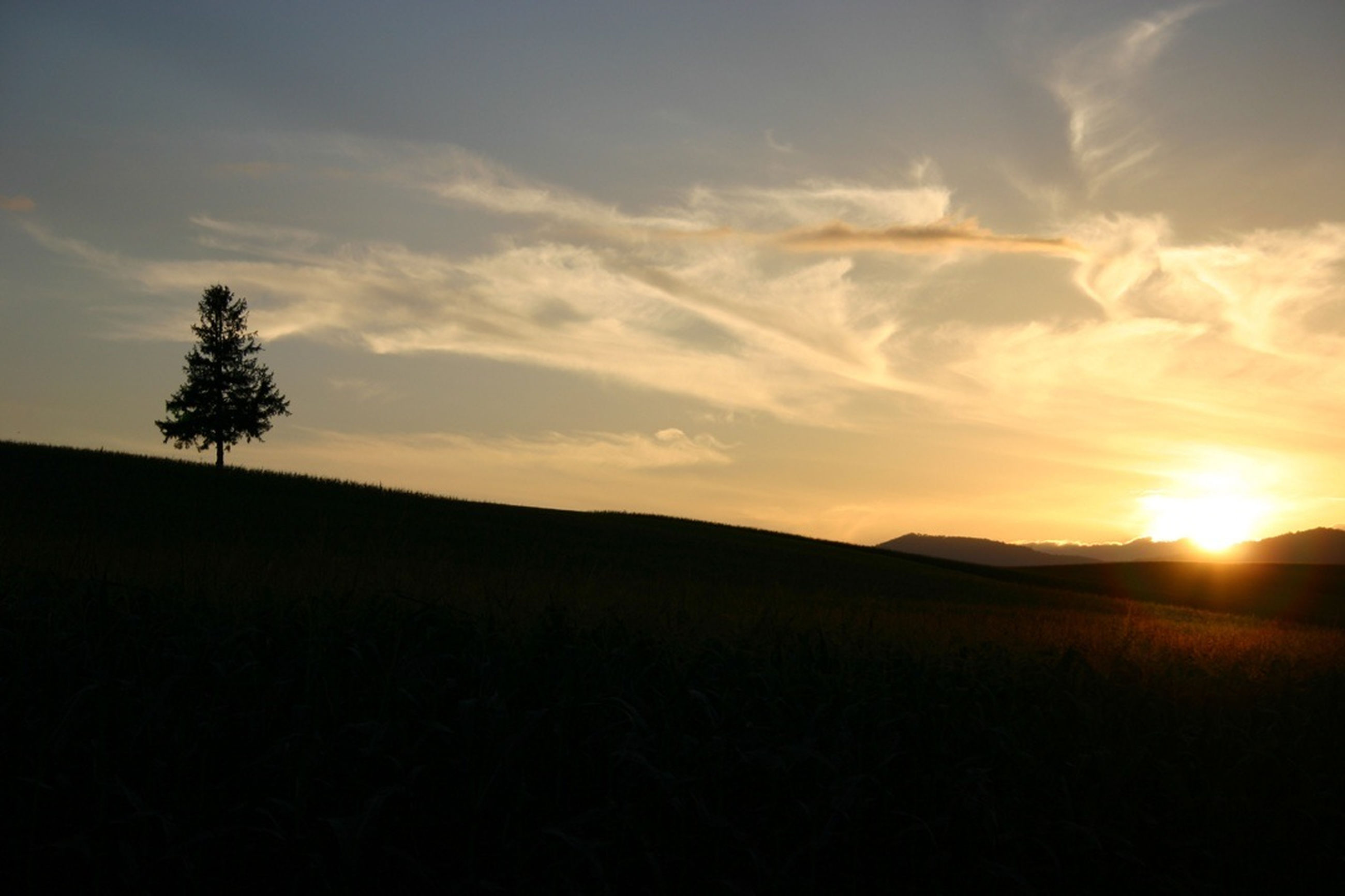 sunset, silhouette, tranquil scene, sun, tranquility, scenics, sky, landscape, beauty in nature, nature, sunlight, tree, sunbeam, idyllic, cloud - sky, mountain, field, cloud, non-urban scene, outdoors