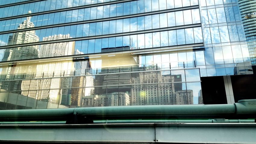 union station reflections Toronto Downtown The 6ix Blue Sky Mirror Reflection Mirror Clouds And Sky Union Station Go Train Royal York Hotel Skyscrapers Window Architecture Building Exterior Office Building Glass Financial District